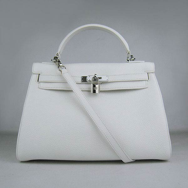 Hermes Kelly 32cm_White Togo Leather_Silver Metal