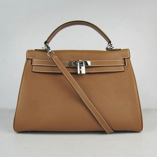 Hermes Kelly 32cm_Light Coffee Togo Leather_Silver Metal