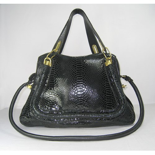 Chloe Paraty Bag Large_Black Python Leather_6260