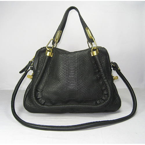 Chloe Paraty Bag_Flat Black Python Leather_6260