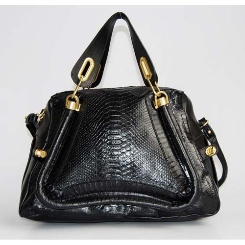 Chloe Paraty Bag_Black Python Leather_6260