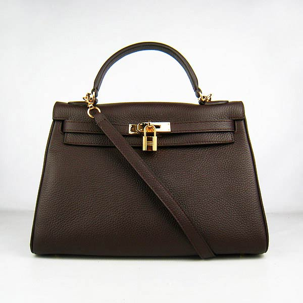 Hermes Kelly 32cm_Deep Coffee Togo Leather_Golden Metal