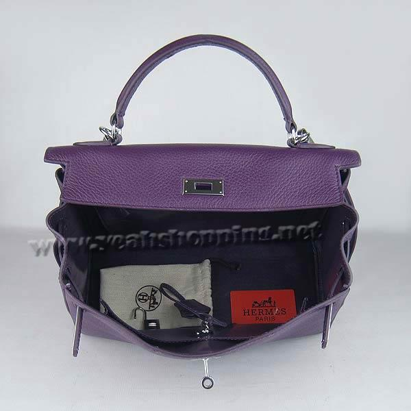 Hermes Kelly 32cm_Purple Togo Leather_Silver Metal-2