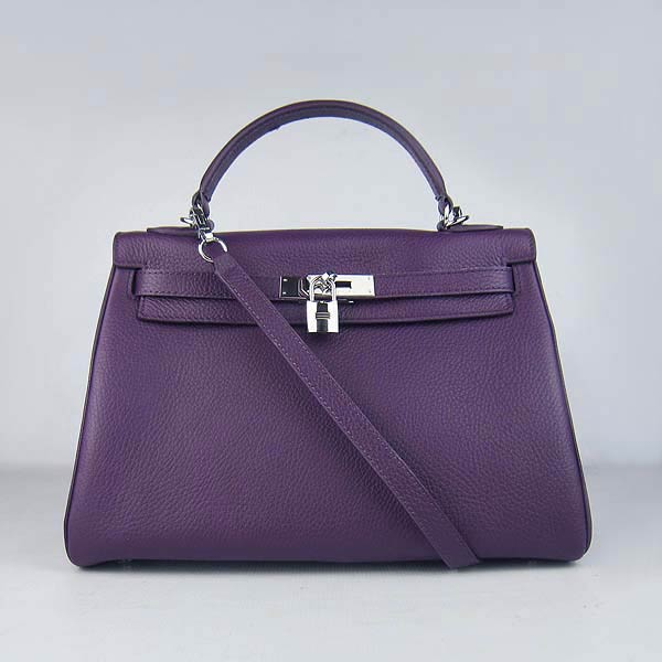 Hermes Kelly 32cm_Purple Togo Leather_Silver Metal