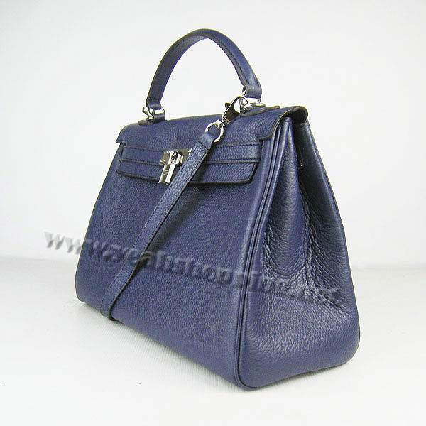 Hermes Kelly 32cm_Deep Blue Togo Leather_Silver Metal-2