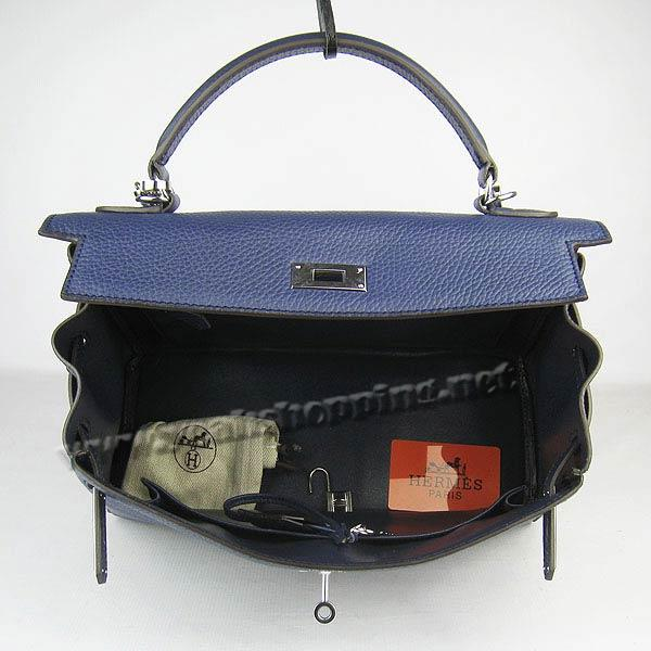 Hermes Kelly 32cm_Deep Blue Togo Leather_Silver Metal-4