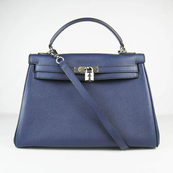 Hermes Kelly 32cm_Deep Blue Togo Leather_Silver Metal