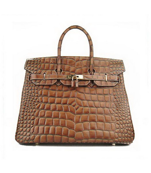 Hermes Birkin 35cm Light Coffee Croc Leather Golden Metal