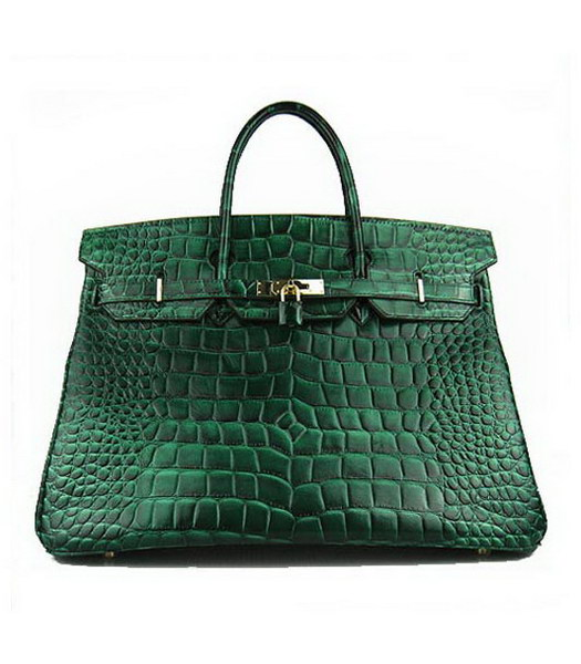 Hermes Birkin 40cm Dark Green Croc Leather Golden Metal