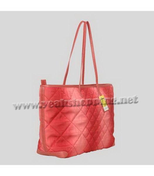Fendi Rhombic Line Shoulder Bag Red Fabric-1