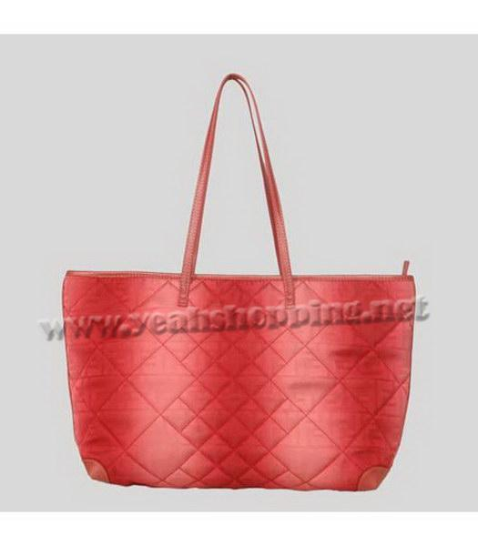 Fendi Rhombic Line Shoulder Bag Red Fabric-2