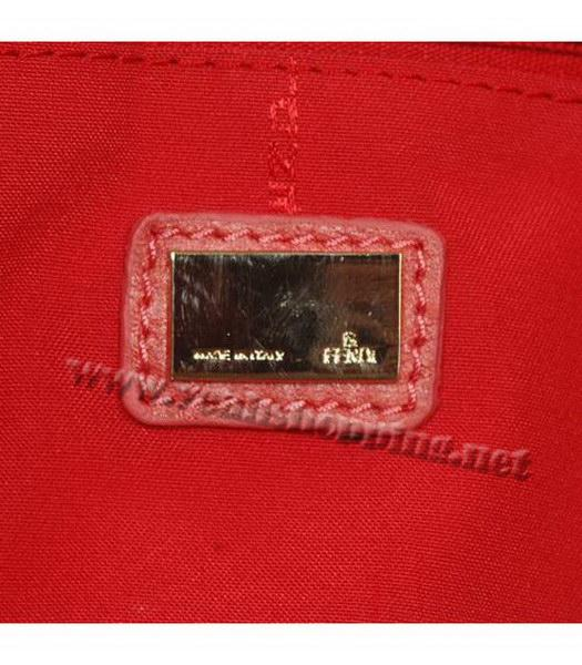 Fendi Rhombic Line Shoulder Bag Red Fabric-5