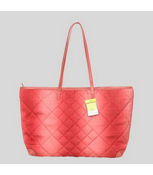 Fendi Rhombic Line Shoulder Bag Red Fabric