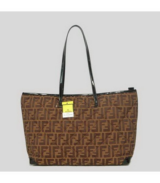 Fendi Rhombic Line Shoulder Bag Coffee Fabric