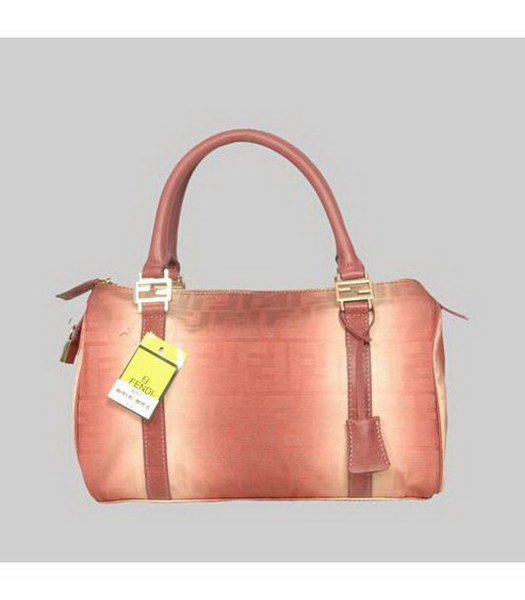 Fendi Tote Bag Orange Fabric&Genuine Leather