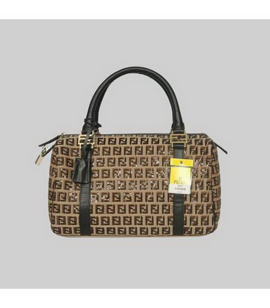 Fendi Tote Bag Apricot Fabric Black Sequin