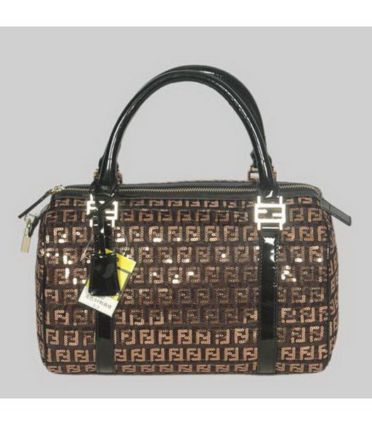 Fendi Tote Black Canvas Gold Sequin
