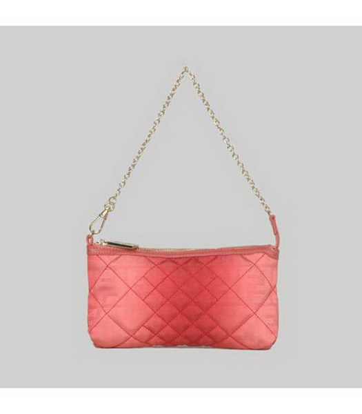 Fendi Rhombic Line Bag Red Fabric Gold Chains
