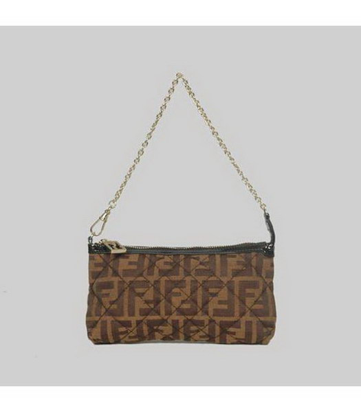 Fendi Rhombic Line Bag Coffee Fabric Gold Chains