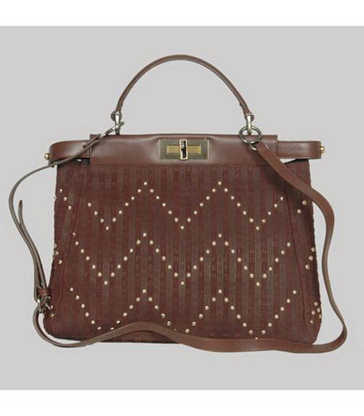 Fendi FF Peekaboo Tote Bag Coffee Scrubing Leather