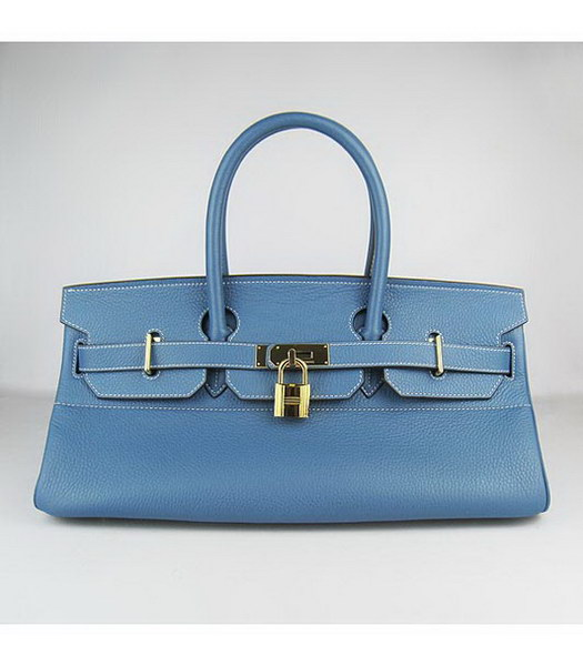 Hermes Birkin 42cm Blue Togo Leather Golden Metal