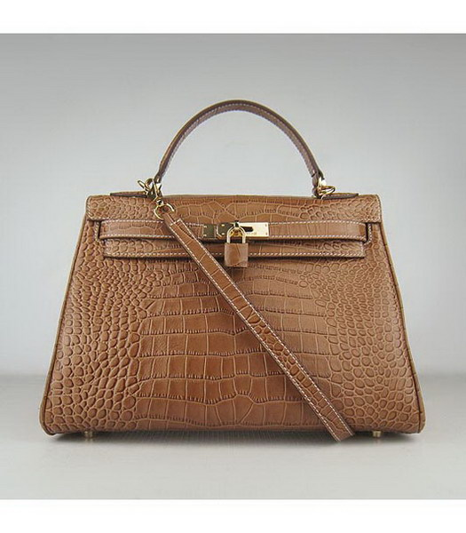 Hermes Kelly 32cm Light Coffee Croc Leather Golden Metal