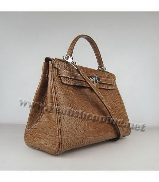 Hermes Kelly 32cm Light Coffee Croc Leather Silver Metal-1