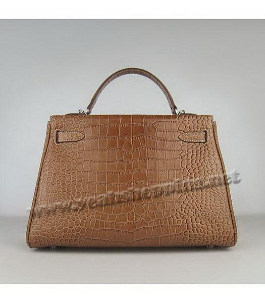 Hermes Kelly 32cm Light Coffee Croc Leather Silver Metal-2