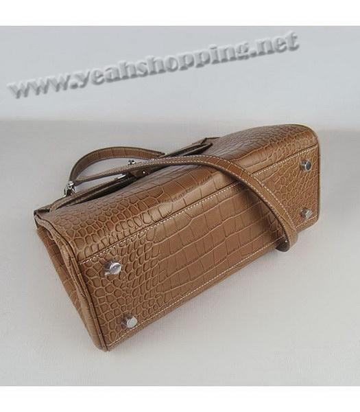 Hermes Kelly 32cm Light Coffee Croc Leather Silver Metal-3