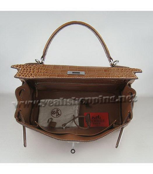 Hermes Kelly 32cm Light Coffee Croc Leather Silver Metal-5