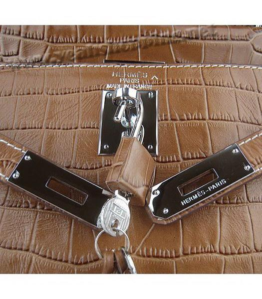 Hermes Kelly 32cm Light Coffee Croc Leather Silver Metal-6