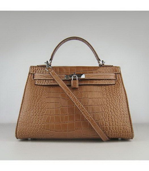 Hermes Kelly 32cm Light Coffee Croc Leather Silver Metal