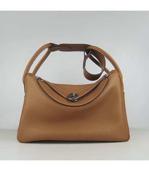 Hermes Lindy 34cm Light Coffee Togo Leather Silver Metal