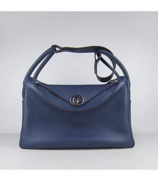 Hermes Lindy 34cm Blue Togo Leather Silver Metal