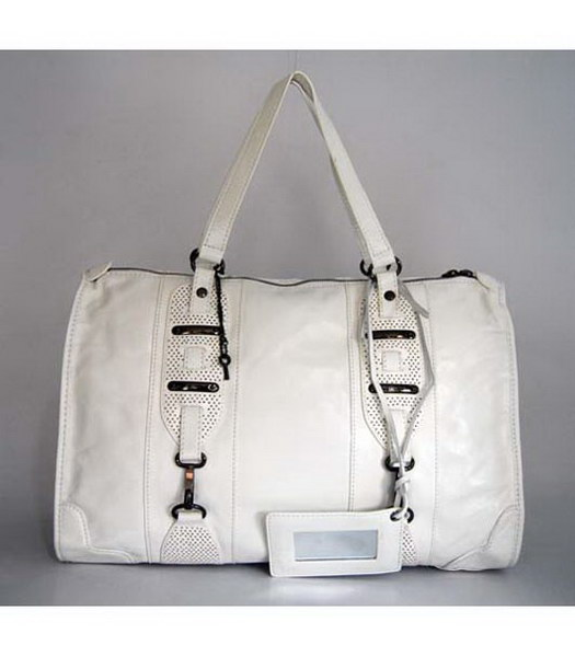 Balenciaga White Leather Large Handbag