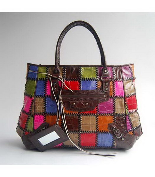 Balenciaga Multicolor Coffee Croc Leather Handbag