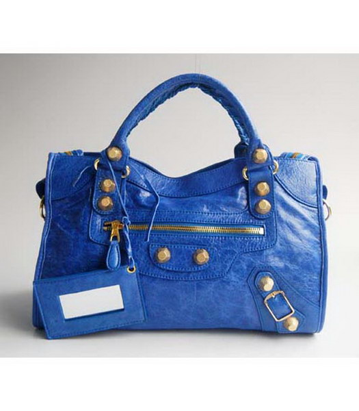 Balenciaga Blue Lambskin Leather Handbag