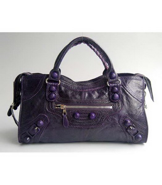 Balenciaga Classic Dark Purple Leather Large Handbag