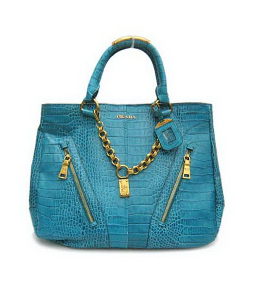 Prada Vitello Shine Tote Bag Light Blue