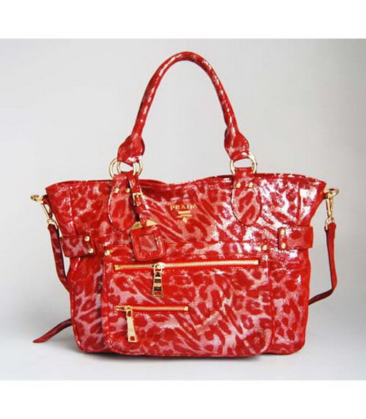 Prada Tote Leopard Pattern Bag Red
