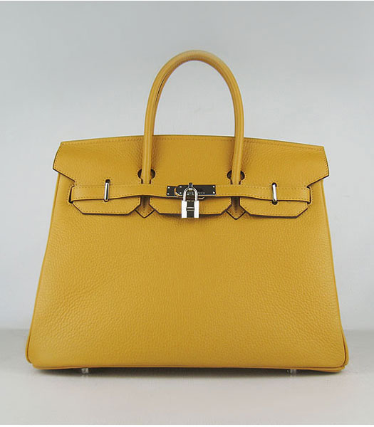 Hermes Birkin 35cm Yellow Togo Leather Silver Metal