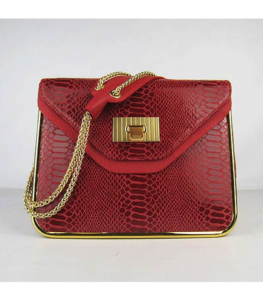 Chloe Sally Snake Pattern Handbag Red