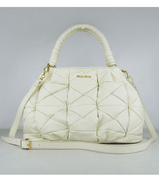 Miu Miu New Quilted Satchel Shoulder Tote Bag Offwhite Lambskin