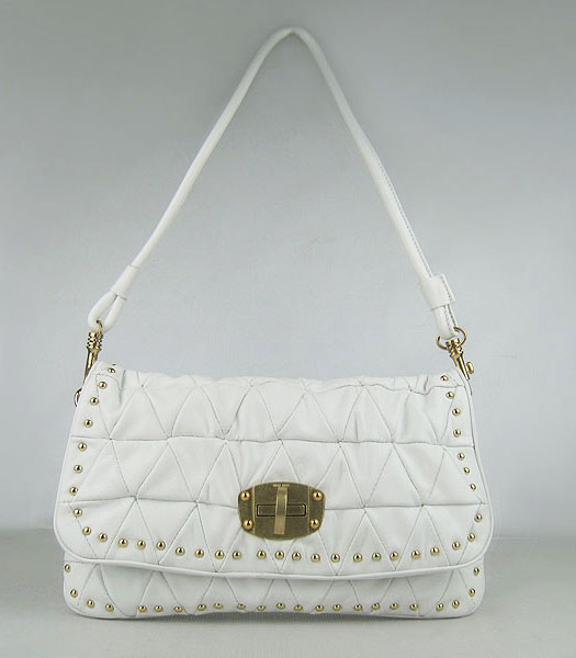 Miu Miu New Quilted Shoulder Bag White Lambskin