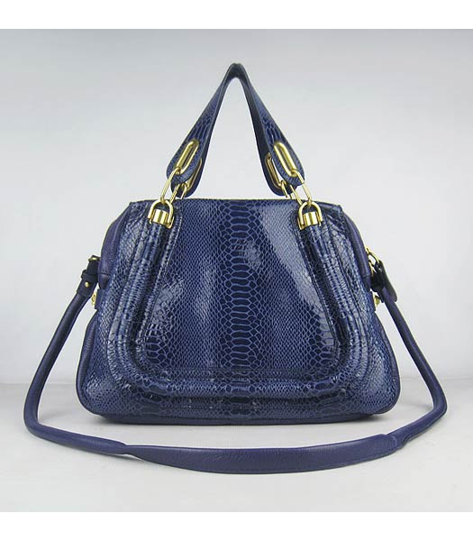 Chloe Paraty Snake Pattern PM Bag Blue