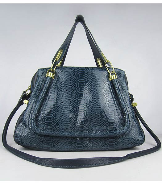 Chloe Paraty Snake Pattern GM Bag Dark Blue