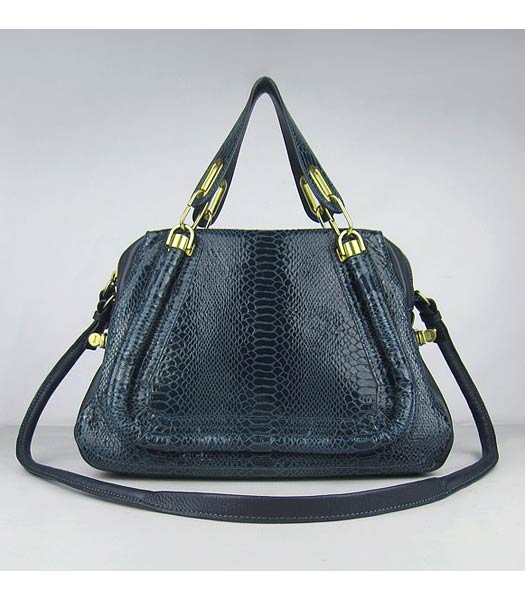 Chloe Paraty Snake Pattern PM Bag Dark Blue