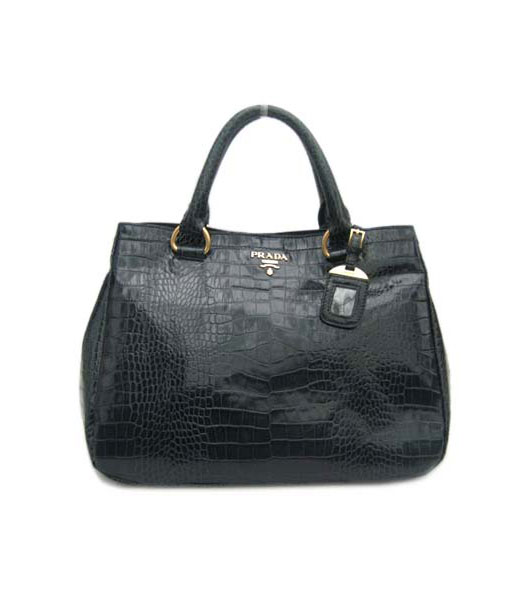 Prada Tote Bag Dark Blue Croc Pattern