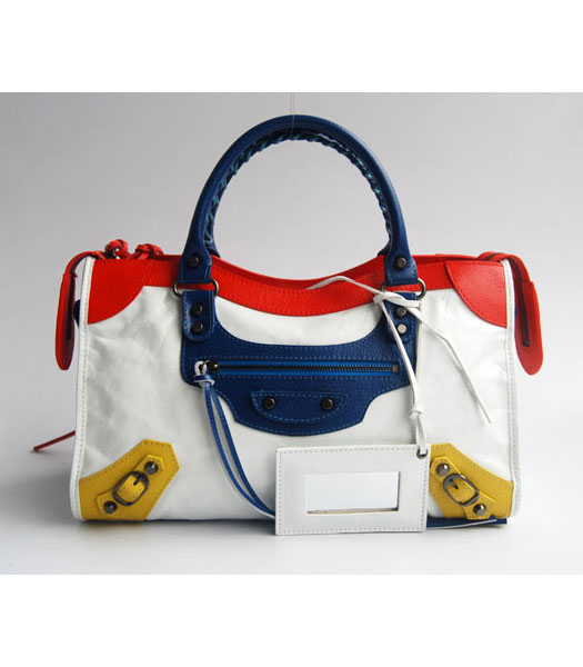 Balenciaga Giant City Bag White with Red/Blue/Yellow