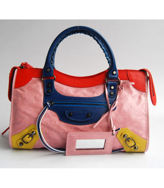 Balenciaga Giant City Bag Pink with Red/Blue/Yellow